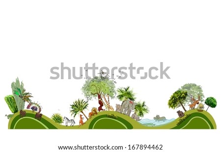 city line collection Zoo illustration - stock vector