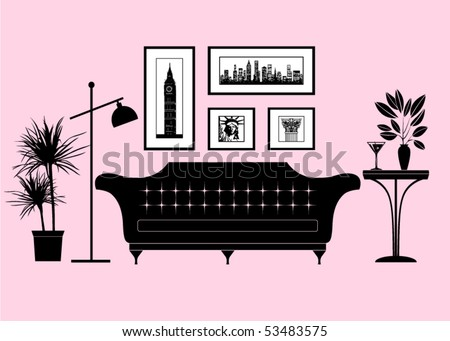 City living - part of a modern living room - stock vector