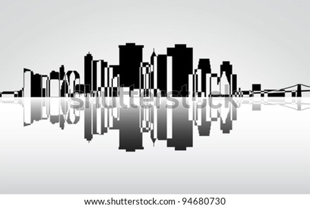 City Manhattan panorama, vector - stock vector