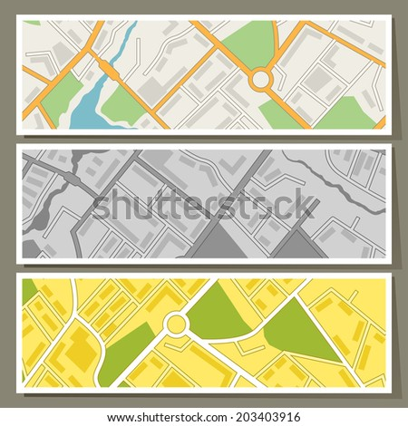 City map abstract horizontal banners vector background. - stock vector