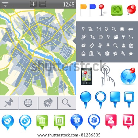 city map and gps icons and pushpins - stock vector
