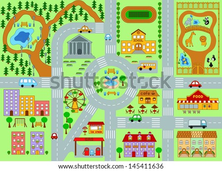 City map for kids - stock vector