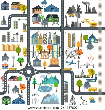 City map generator. City map example. Elements for creating your perfect city. Colour version. Seamless pattern. Vector illustration - stock vector