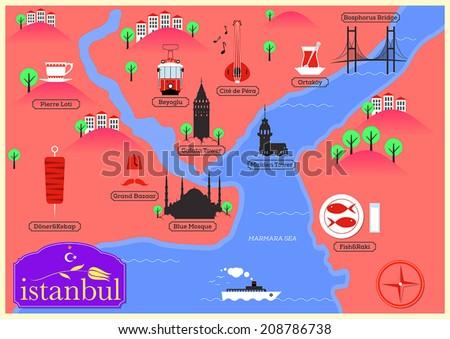 City Map Illustration Istanbul Landmarks Vector Stock Vector 2018