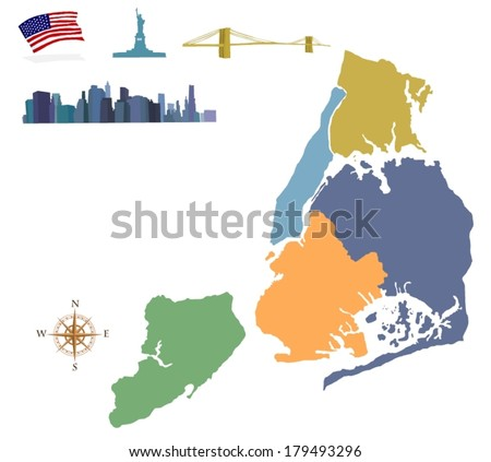 City map of New York - stock vector
