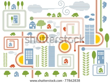 City map retro illustration with colorful icons of cars, trees and buildings, vector illustration - stock vector