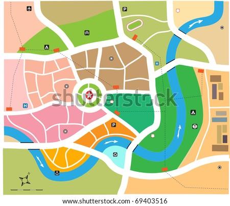 City map vector illustration - stock vector