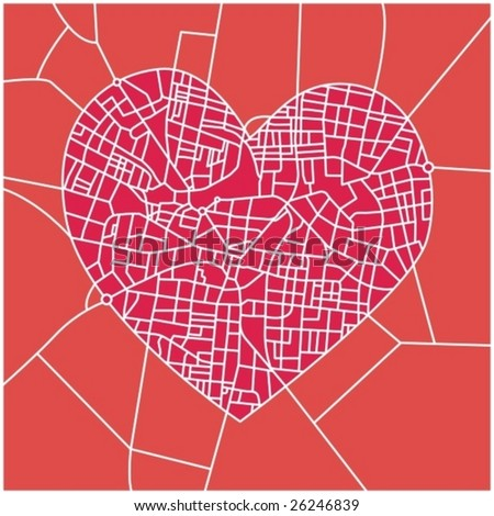 City Map Detailed Streets Heart Shape Stock Vector 26246839 ...