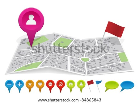City map with labels. Vector illustration. - stock vector