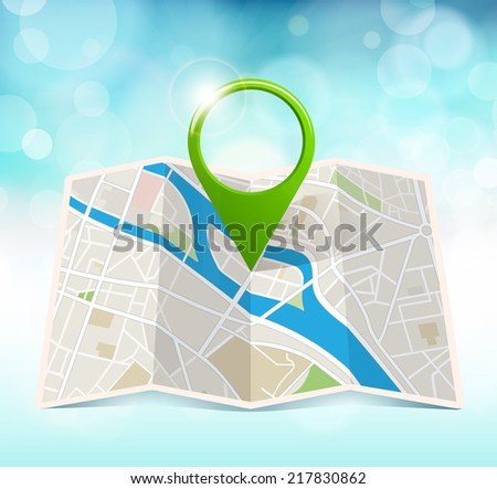 City Map With Marker - stock vector