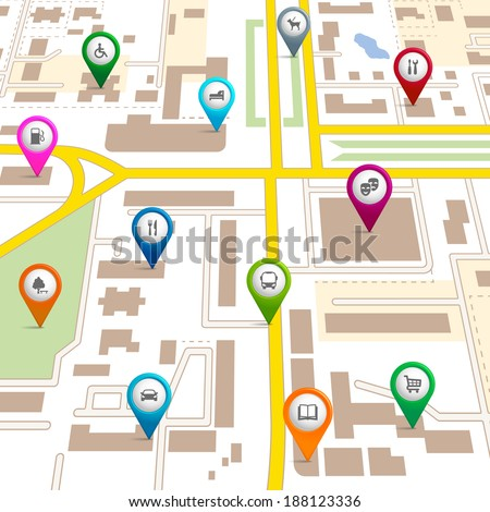 City map with pin pointers giving the location of various services such as the theatre,  garage,  hotel,  hospital,  supermarket,  restaurant,  park,  dog walking,  bus,  library,  and car park