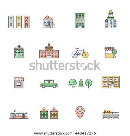 City multicolored icons set. Buildings, houses, trees, transport and pointer. Clean and simple outline design. - stock vector