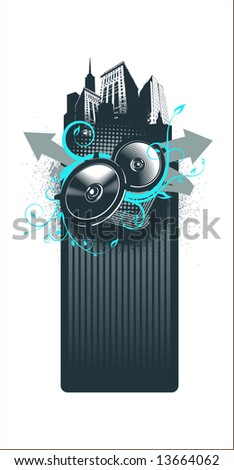 city music frame - vector - blue - stock vector
