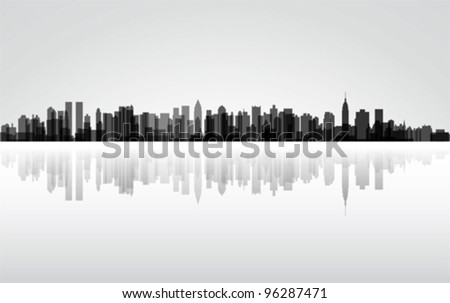 City New York panorama, vector - stock vector