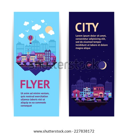 City night scape night and day town architecture vertical banner set isolated vector illustration - stock vector