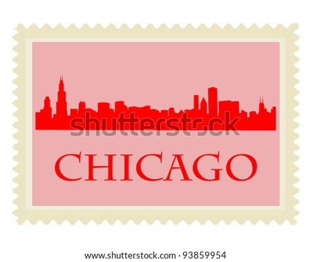 City of Chicago high rise buildings skyline - stock vector