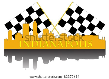 City of Indianapolis high rise buildings skyline with racing finish flags