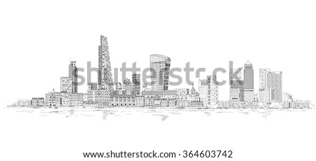 City of London sketch illustration. Business background - stock vector