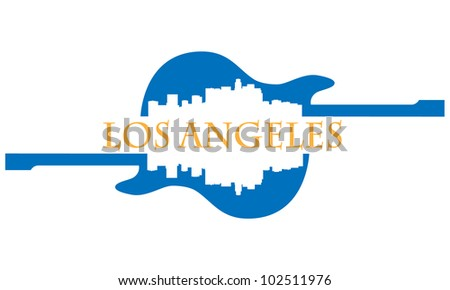 City of Los Angeles high-rise buildings skyline with guitar - stock vector