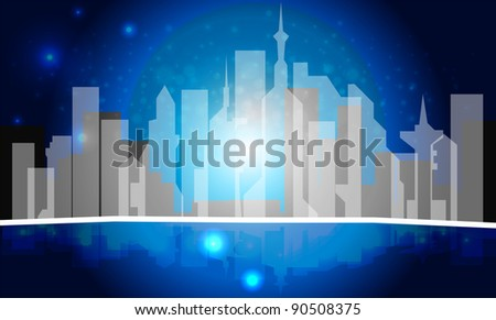 City on a background - stock vector