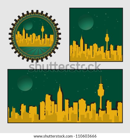 City on a background sunset of a sun - stock vector