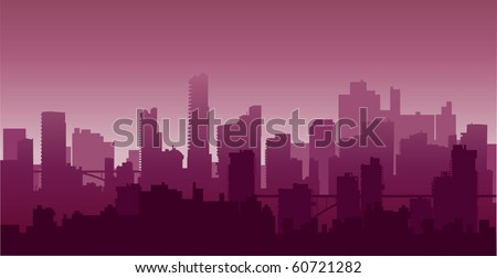 City on a background sunset of a sun2 - stock vector