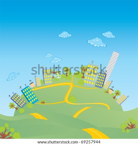 City on a hill - stock vector