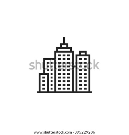 City Outline Icon - stock vector