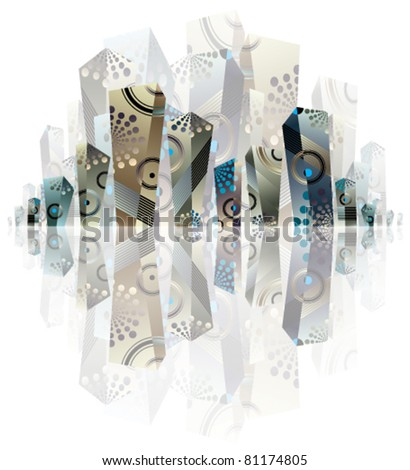 City panorama artistic illustration, creative vector abstract urban background, with three dimensional shapes that can be used separately. - stock vector