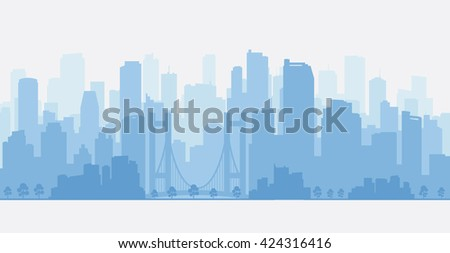 City panorama with skyscrapers, skyline. - stock vector