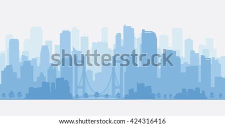 City panorama with skyscrapers, skyline. - stock vector