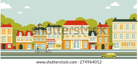 City panoramic street seamless background in flat style - stock vector