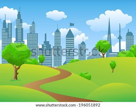 City park landscape - stock vector