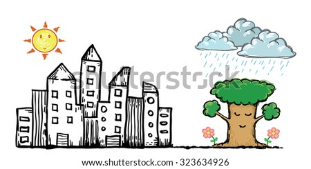 City park with buildings. Vector hand-drawn