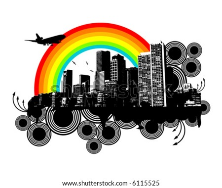 City Rainbow - stock vector