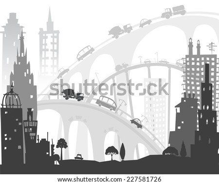 City roads and motorways with lots of traffic. Commuting time illustration - stock vector