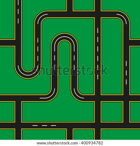 City Roads Seamless Pattern Texture Background - stock vector