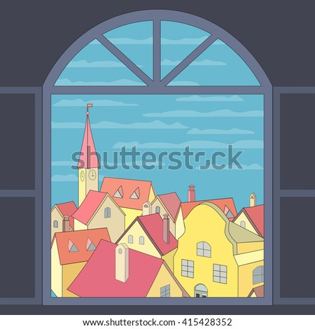 City rooftop. Old western cityscape Concept. City view through window. Open window. Old town panoramic view from window. Window frame. House exterior view. Building rooftops view. Vector Illustration - stock vector