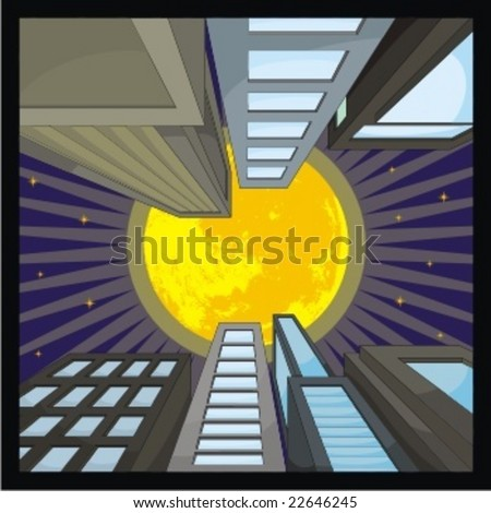city scape with full moon - stock vector