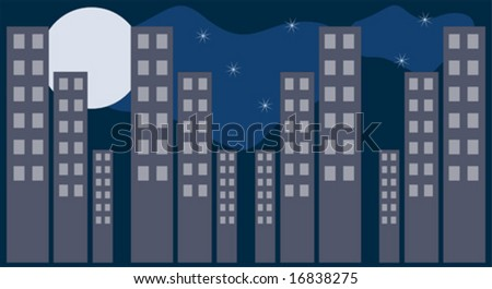 City scape with moon and stars - stock vector