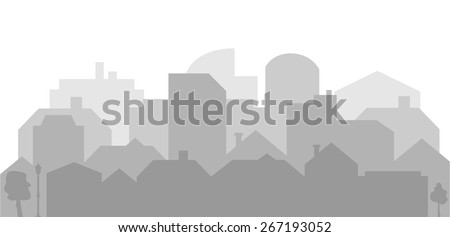 City scene sky line. Abstract silhouette of the city with dark outlines of buildings in shades of gray, simple design, vector art image illustration on white background, eps10 - stock vector