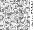 City seamless pattern in black and white is repetitive texture with hand drawn houses. Illustration is in eps8 vector mode. - stock photo
