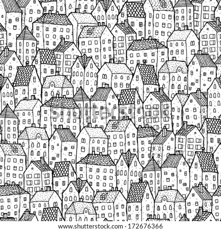 City seamless pattern in black and white is repetitive texture with hand drawn houses. Illustration is in eps8 vector mode. - stock vector