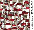 City seamless pattern in colors is repetitive texture with hand drawn houses. Illustration is in eps8 vector mode. - stock vector