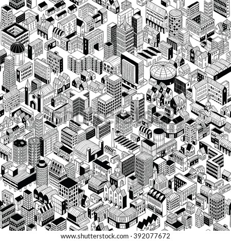 City Seamless Pattern is hand drawing of different building typologies. Illustration is in eps8 vector mode, black fill is on separate layer.