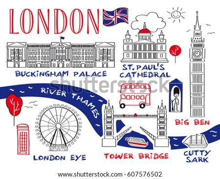 Love London Icons Doodles Drawing Stock Vector 94653991 ...