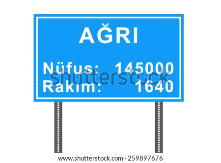 City Sign Vector - Agri, Turkey