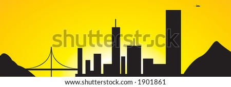 City silhouette amongst a beautiful sunset ending another business day.  Airplane in background can be resized.  Bridge and building scenery. - stock vector