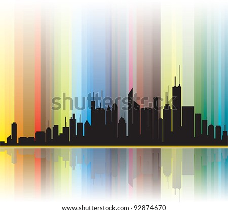 City silhouette illustration showing bright colorful lines in the background. CMYK global process colors used. Illustration managed using layers. AI EPS version 10. Gradients and Opacity Masks used.