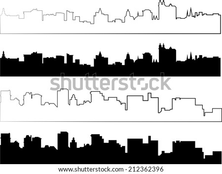 city silhouette in black and with interpretation part 4 - stock vector